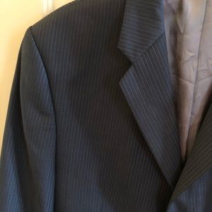 Calvin Klein Wool Navy Striped Suit Coat Size 42L